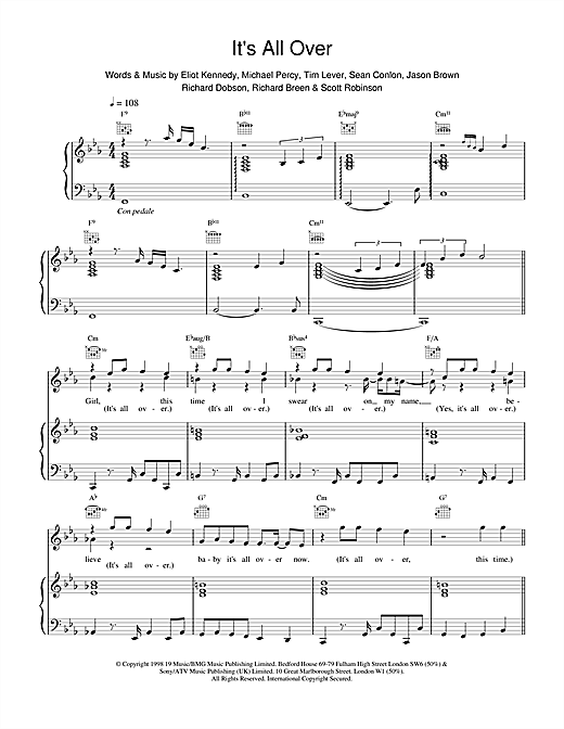 Five Its All Over sheet music notes printable PDF score