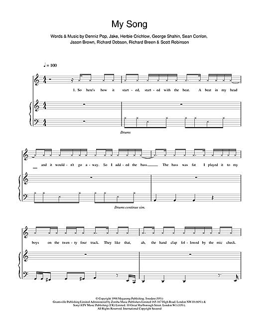 Five My Song sheet music notes printable PDF score