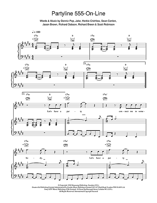 Five Partyline 555 On Line sheet music notes printable PDF score