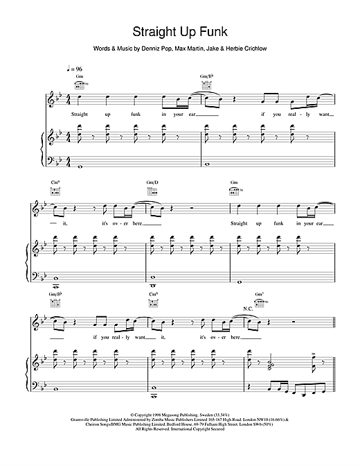 Five Straight Up Funk sheet music notes printable PDF score