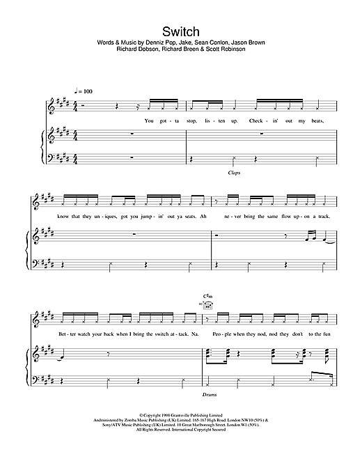 Five Switch sheet music notes printable PDF score