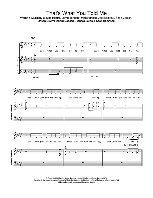 Five That's What You Told Me sheet music notes printable PDF score