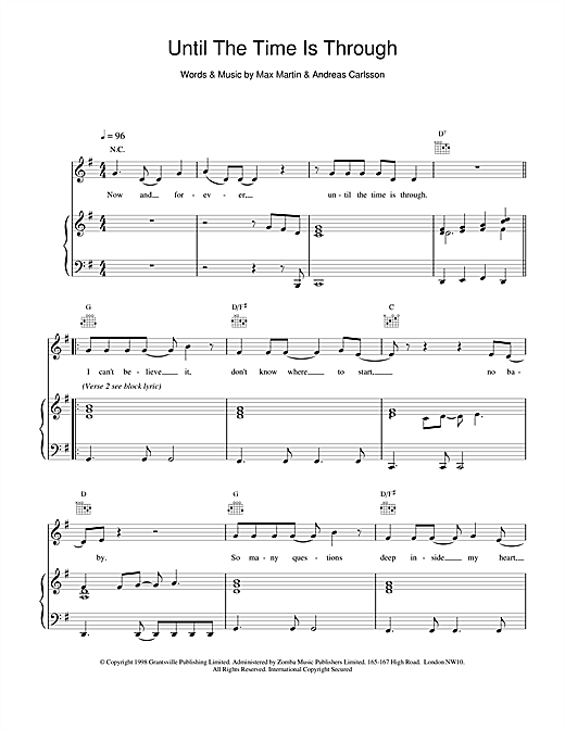 Five Until The Time Is Through sheet music notes printable PDF score