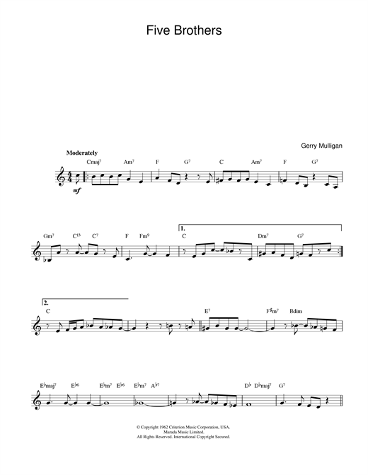 Gerry Mulligan Five Brothers sheet music notes printable PDF score