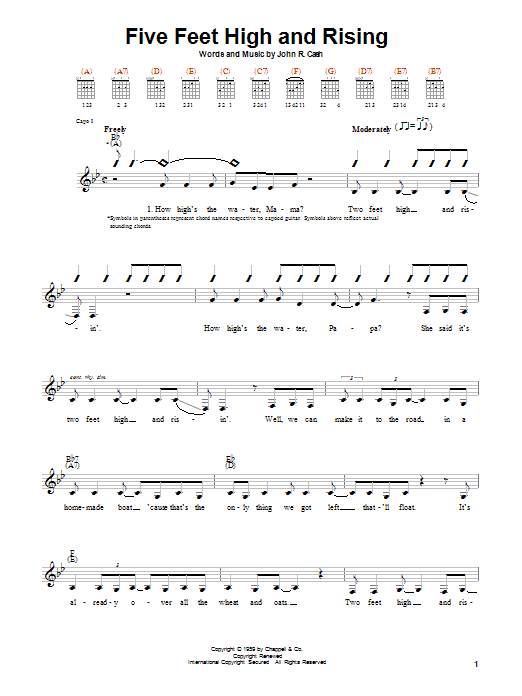 Johnny Cash Five Feet High And Rising sheet music notes printable PDF score