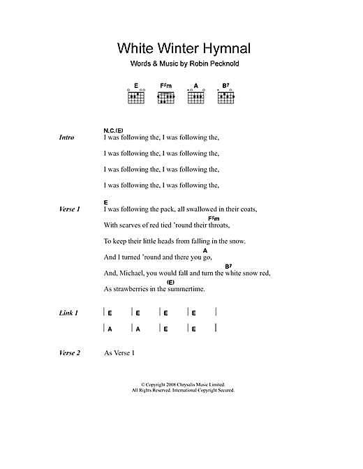 Fleet Foxes White Winter Hymnal sheet music notes and chords. Download Printable PDF.