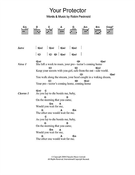 Fleet Foxes Your Protector sheet music notes printable PDF score