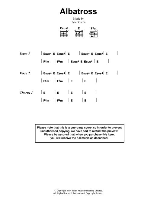 Fleetwood Mac Albatross sheet music notes and chords. Download Printable PDF.