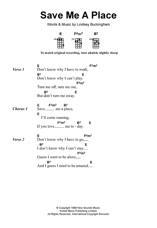 Fleetwood Mac Save Me A Place sheet music notes and chords. Download Printable PDF.