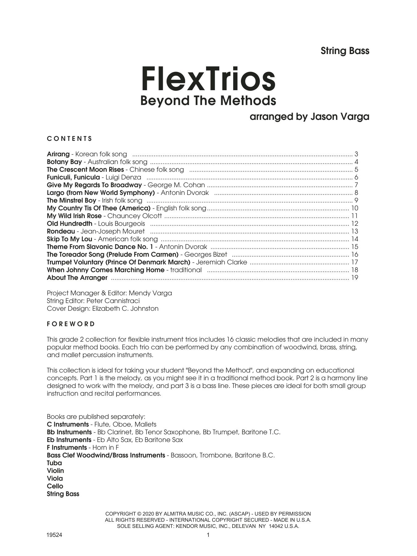Jason Varga Flextrios - Beyond The Methods (16 Pieces) - String Bass sheet music notes printable PDF score