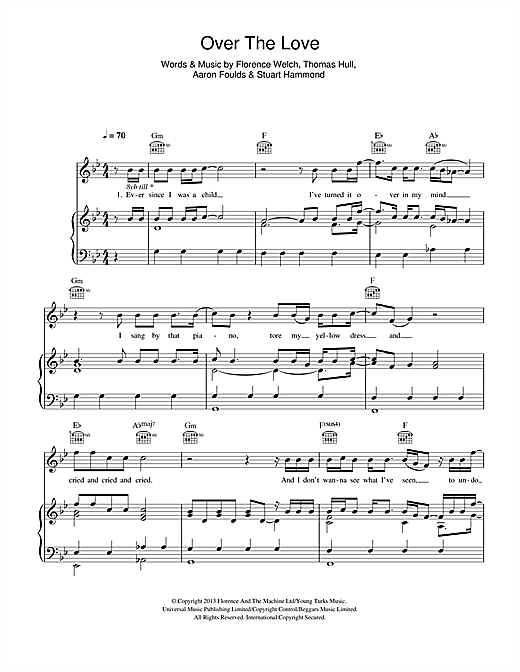 Florence And The Machine Over The Love sheet music notes and chords. Download Printable PDF.