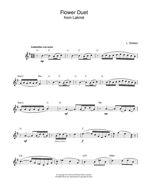 Leo Delibes Flower Duet (from Lakme) sheet music notes printable PDF score