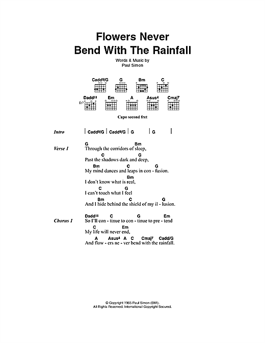 Simon & Garfunkel Flowers Never Bend With The Rainfall sheet music notes printable PDF score