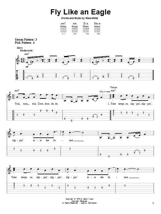 The Steve Miller Band Fly Like An Eagle sheet music notes printable PDF score