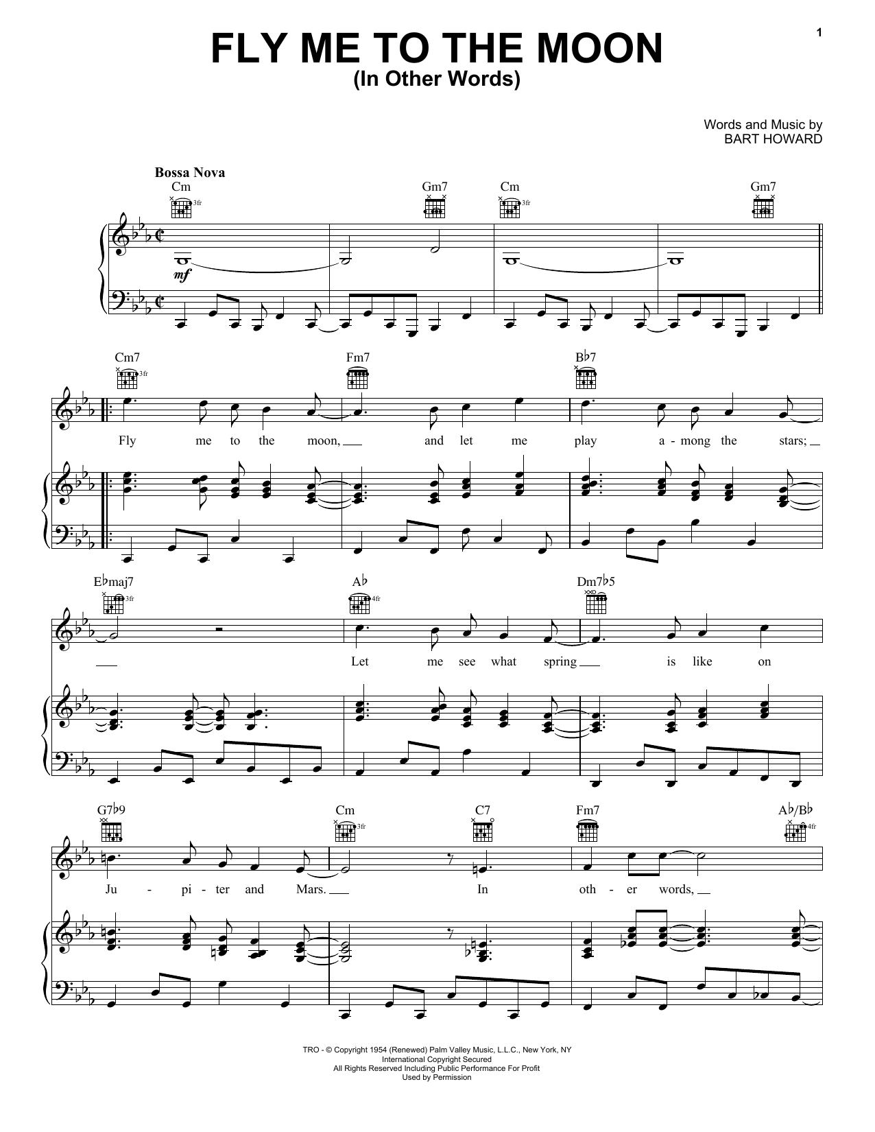 Frank Sinatra Fly Me To The Moon (In Other Words) sheet music notes printable PDF score