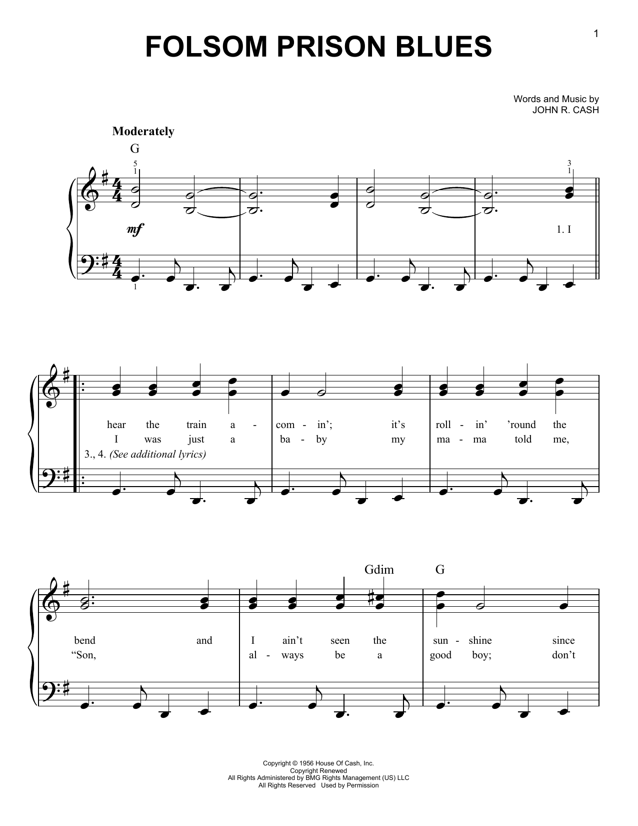 Johnny Cash Folsom Prison Blues sheet music notes printable PDF score