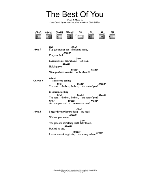 Foo Fighters Best Of You sheet music notes and chords. Download Printable PDF.