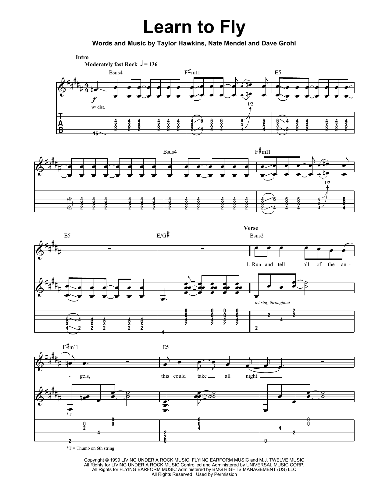 Foo Fighters Learn To Fly sheet music notes and chords. Download Printable PDF.