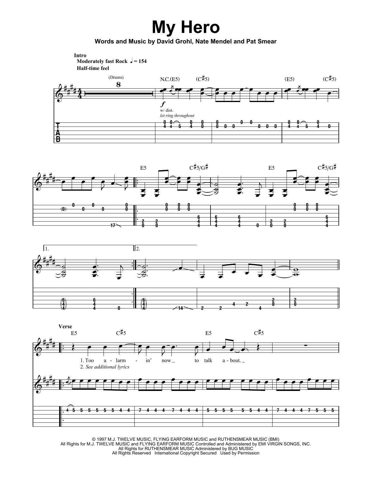 Foo Fighters My Hero sheet music notes and chords. Download Printable PDF.