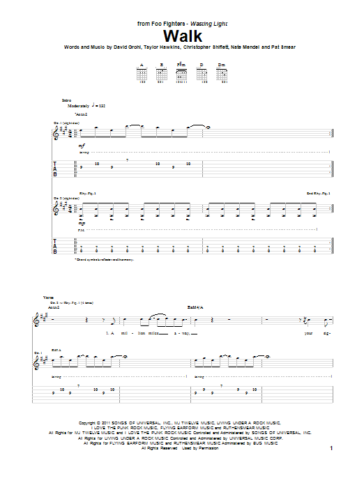 Foo Fighters Walk sheet music notes and chords. Download Printable PDF.