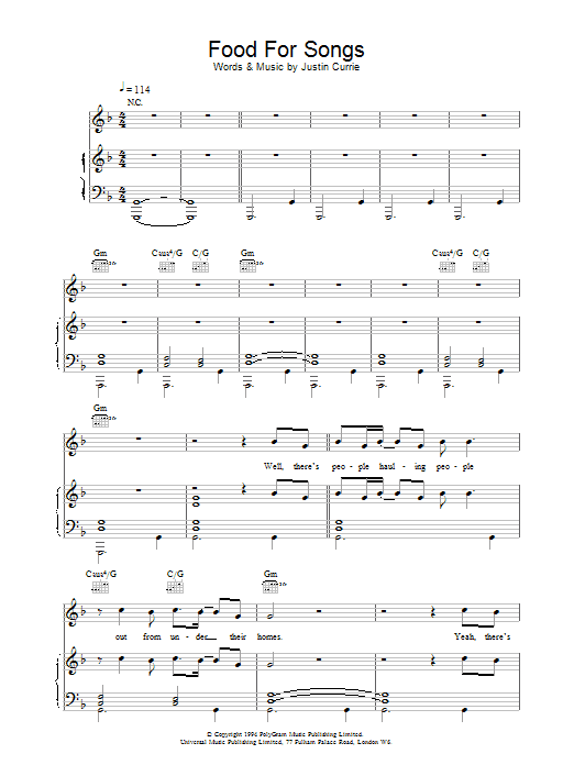 Del Amitri Food For Songs sheet music notes printable PDF score