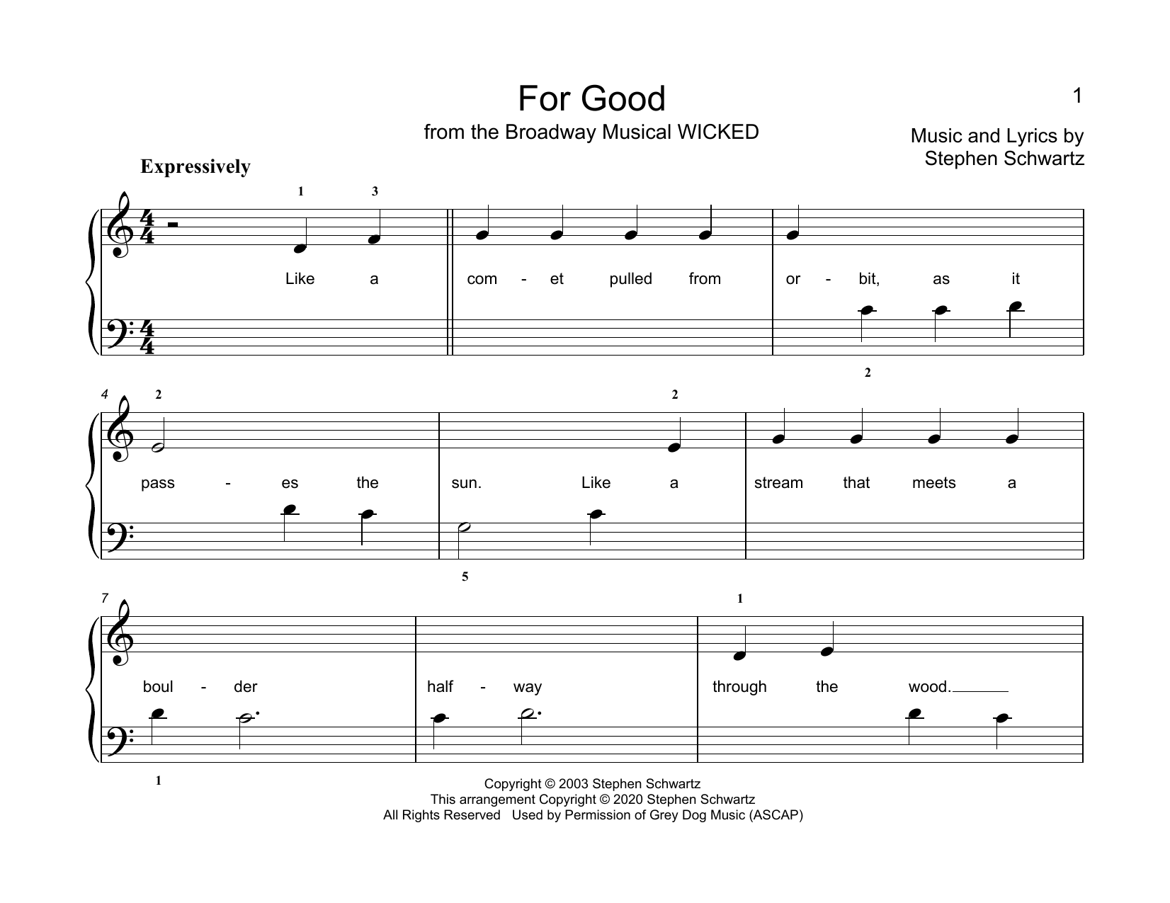 Stephen Schwartz For Good (from Wicked) (arr. Christopher Hussey) sheet music notes printable PDF score