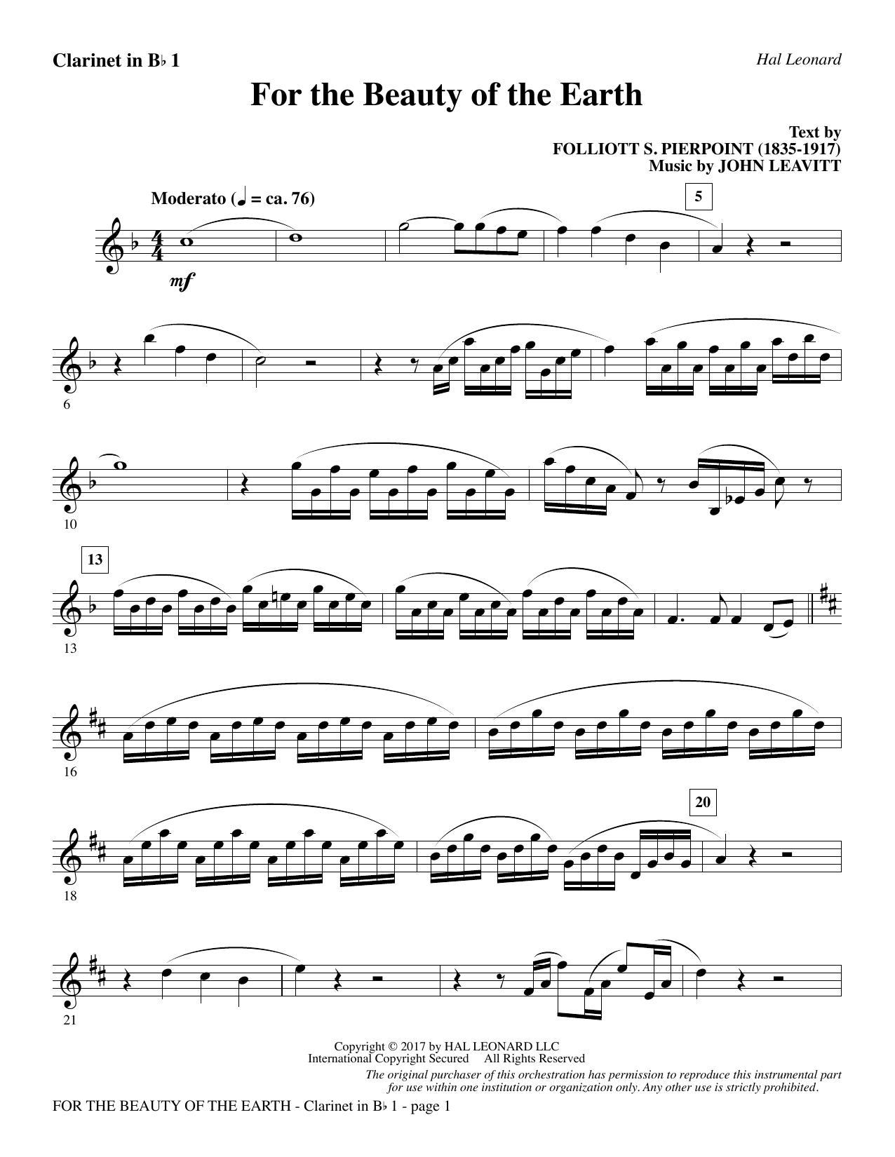John Leavitt For the Beauty of the Earth - Bb Clarinet 1 sheet music notes printable PDF score