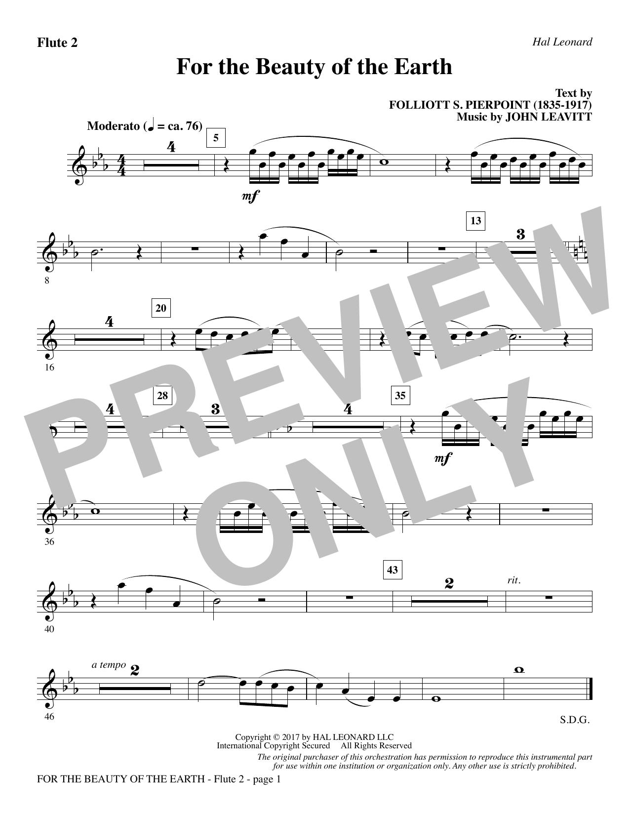 John Leavitt For the Beauty of the Earth - Flute 2 sheet music notes printable PDF score