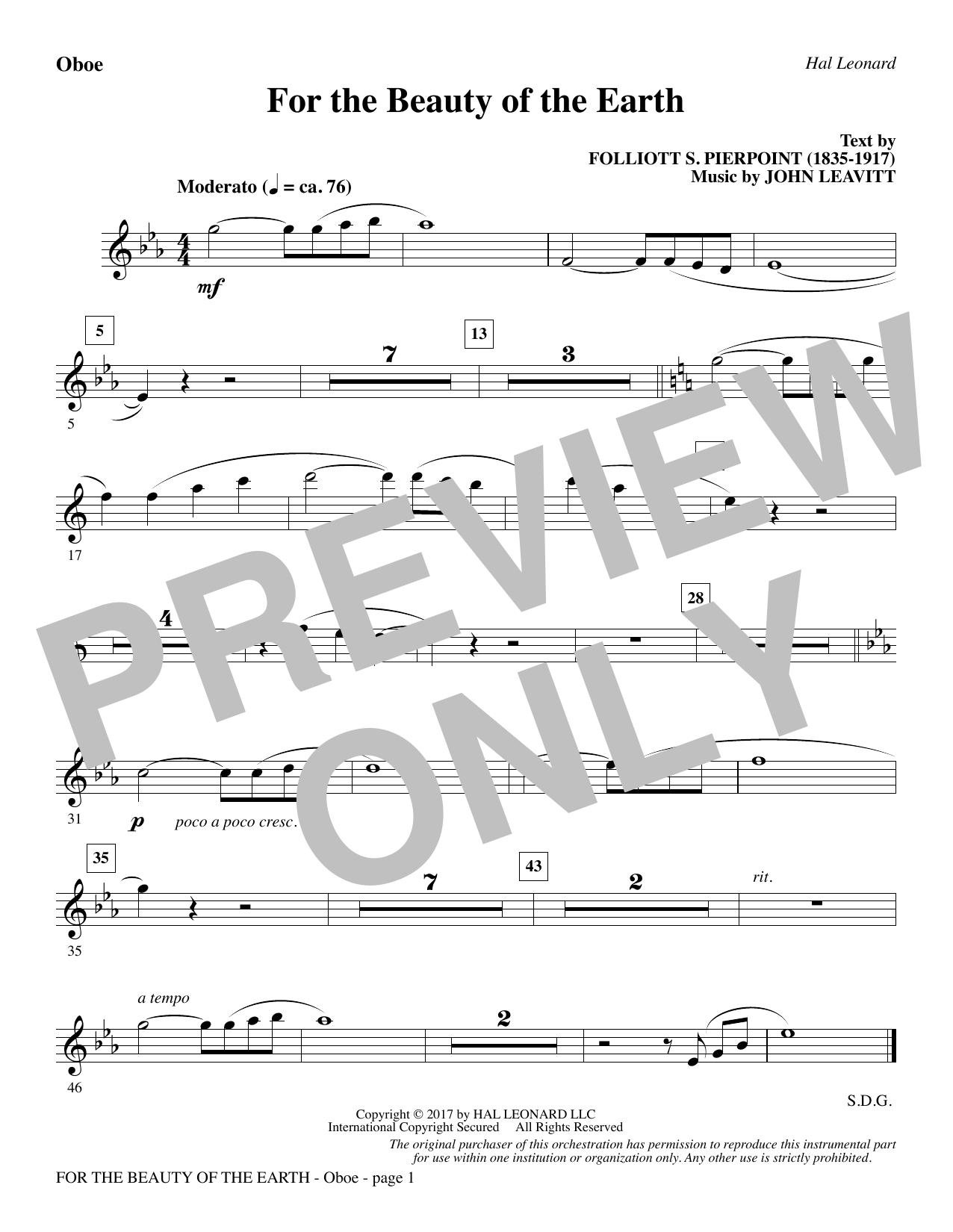 John Leavitt For the Beauty of the Earth - Oboe sheet music notes printable PDF score