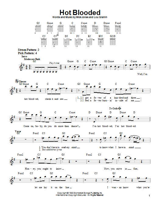 Foreigner Hot Blooded sheet music notes and chords. Download Printable PDF.