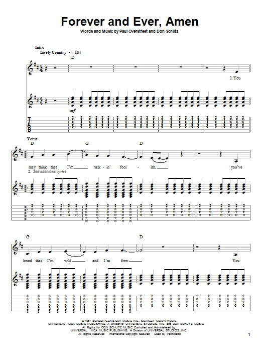 Randy Travis Forever And Ever, Amen sheet music notes printable PDF score