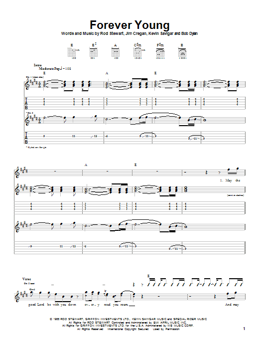 Rod Stewart Forever Young sheet music notes printable PDF score