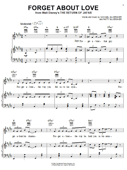 Michael Silversher Forget About Love (from The Return of Jafar) sheet music notes printable PDF score