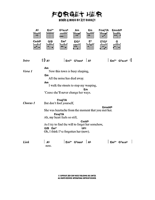 Jeff Buckley Forget Her sheet music notes printable PDF score