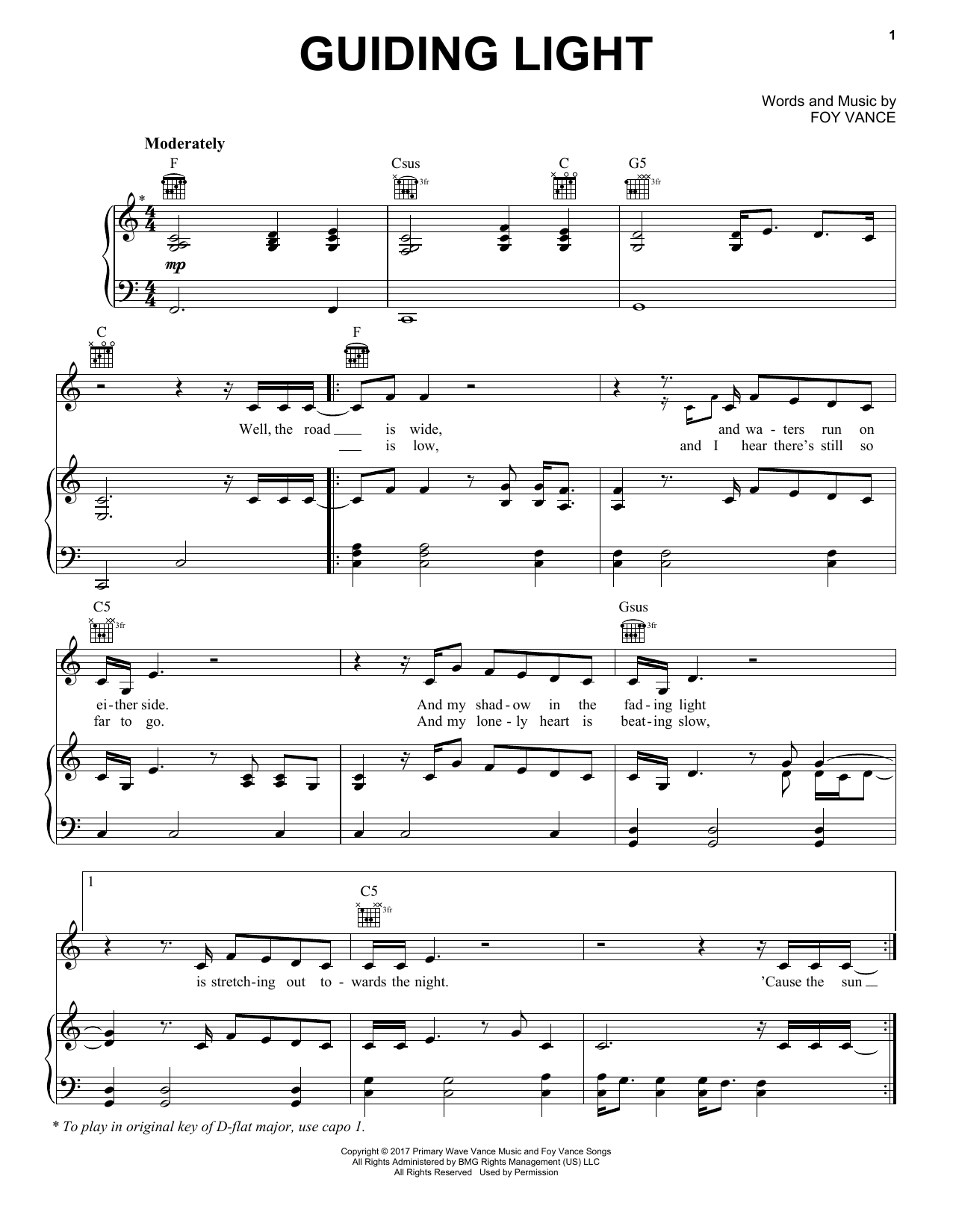 Foy Vance feat. Ed Sheeran Guiding Light sheet music notes and chords. Download Printable PDF.