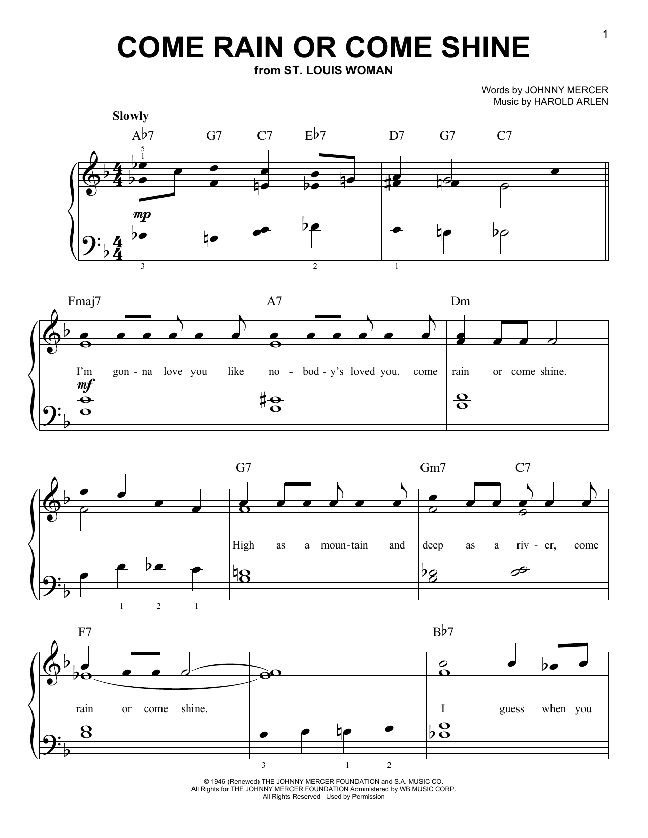 Frank Sinatra Come Rain Or Come Shine sheet music notes and chords. Download Printable PDF.