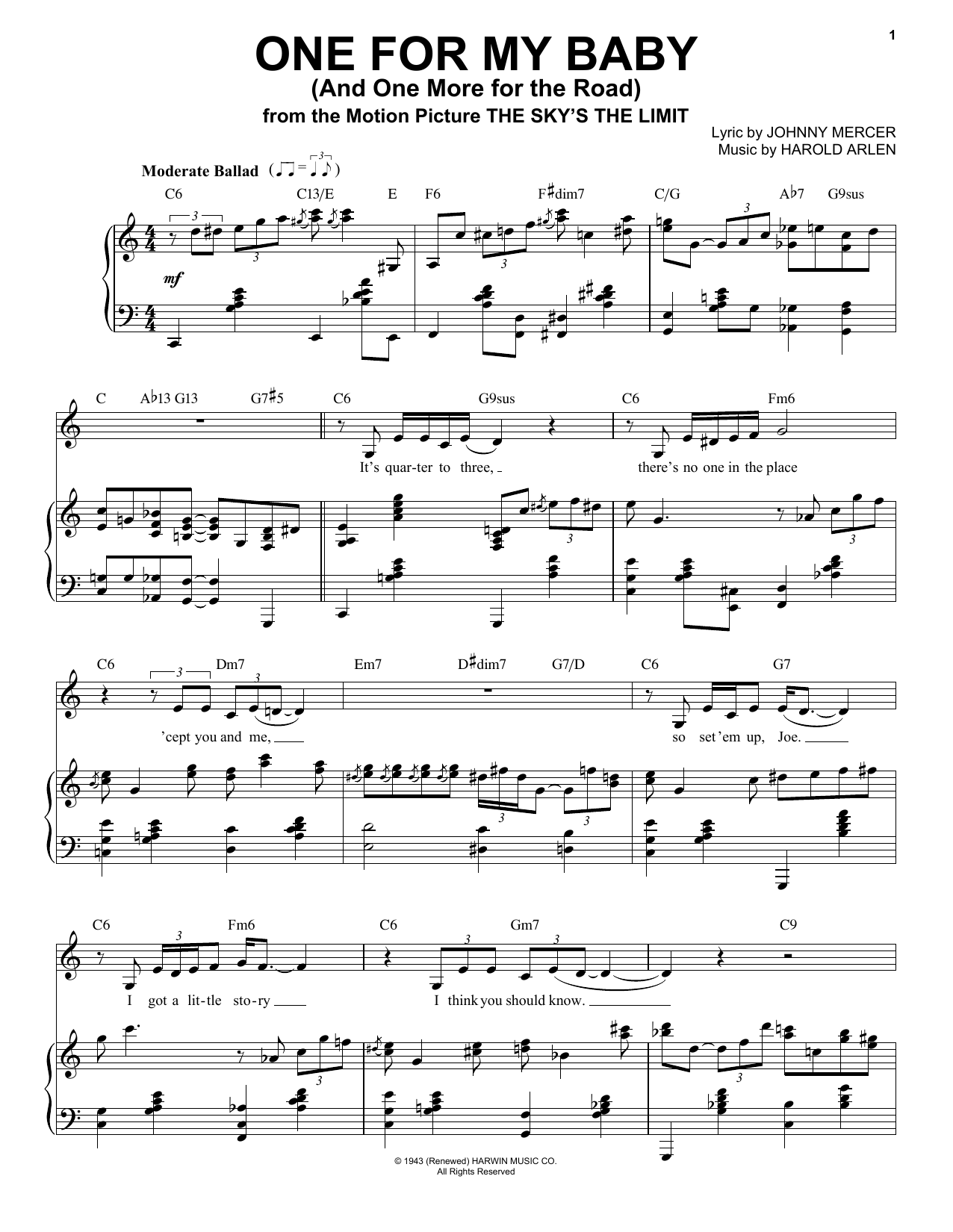 Frank Sinatra One For My Baby (And One More For The Road) sheet music notes printable PDF score