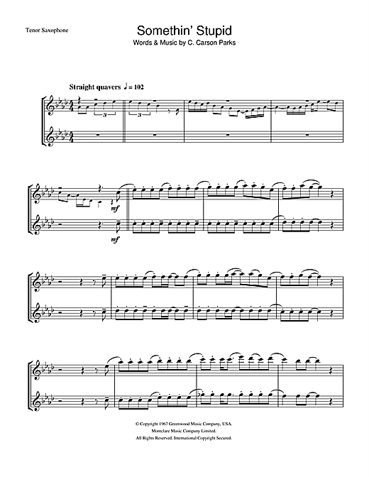 Frank Sinatra Somethin' Stupid sheet music notes printable PDF score