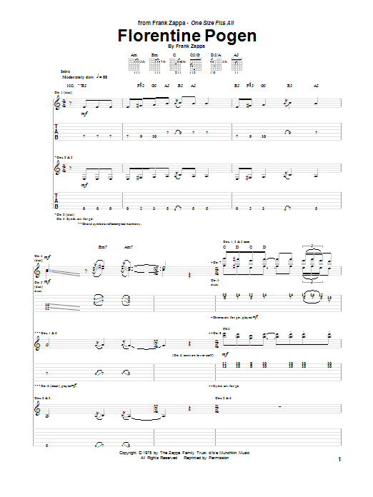 Frank Zappa Florentine Pogen sheet music notes and chords. Download Printable PDF.