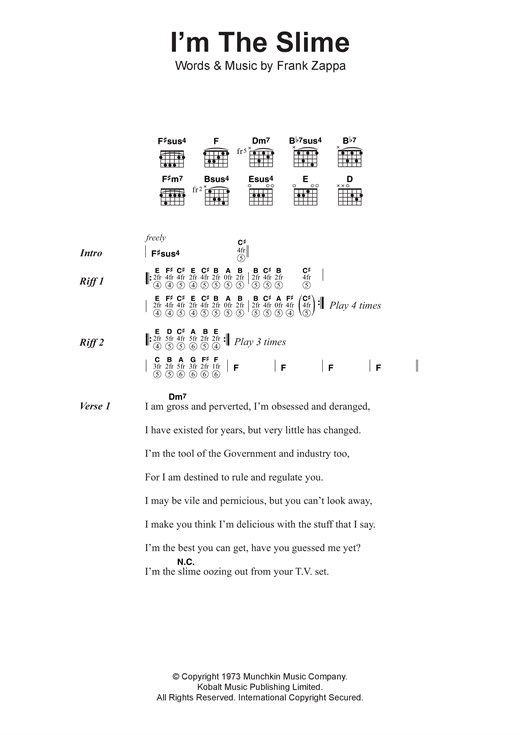 Frank Zappa I'm The Slime sheet music notes and chords. Download Printable PDF.