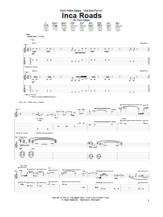 Frank Zappa Inca Roads sheet music notes and chords. Download Printable PDF.