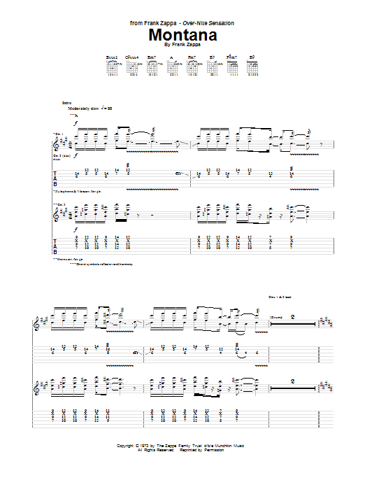 Frank Zappa Montana sheet music notes and chords. Download Printable PDF.