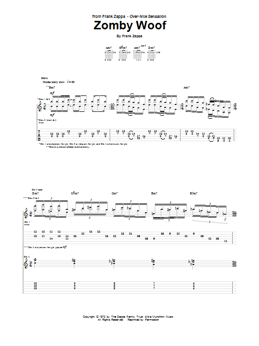 Frank Zappa Zomby Woof sheet music notes and chords. Download Printable PDF.