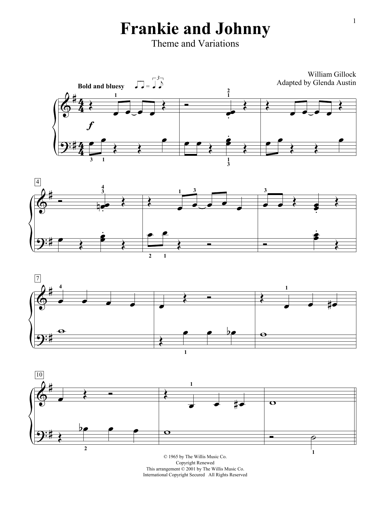 William Gillock Frankie And Johnny (Theme And Variations) (Simplified) (adapted by Glenda Austin) sheet music notes printable PDF score