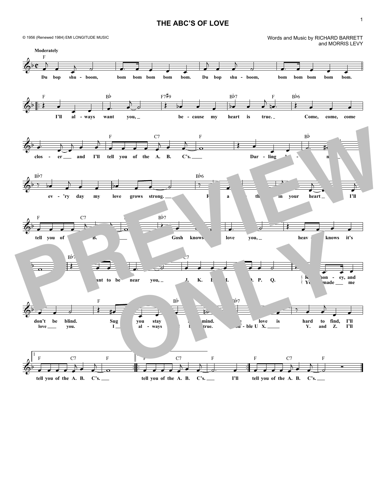 Frankie Lyman & The Teenagers The ABC's Of Love sheet music notes and chords. Download Printable PDF.