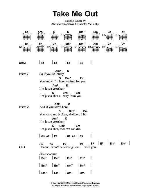 Franz Ferdinand Take Me Out sheet music notes printable PDF score