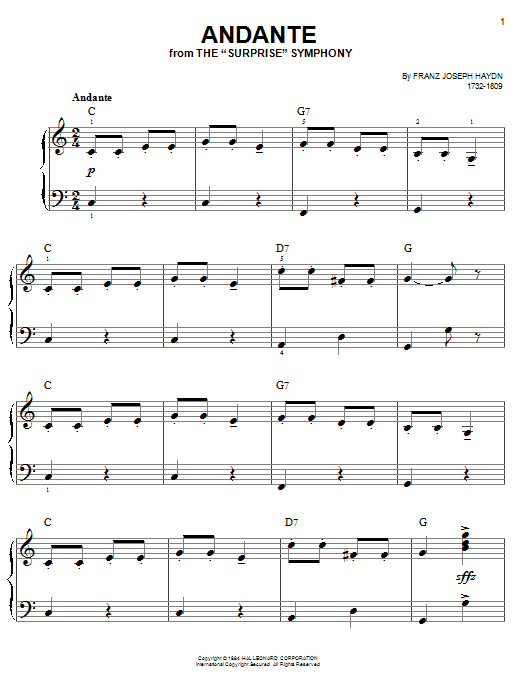 Franz Joseph Haydn Andante sheet music notes printable PDF score