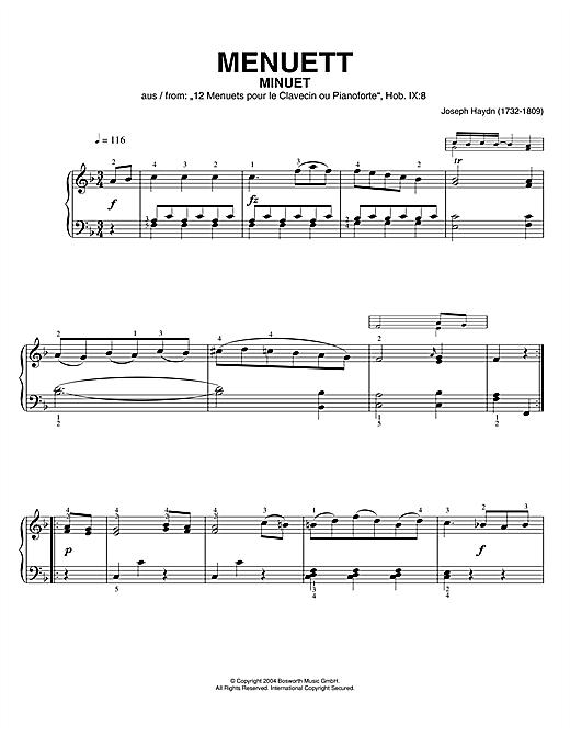 Franz Joseph Haydn Minuet, From 12 Menuets Pour Le Clavecin Ou Pianoforte sheet music notes printable PDF score