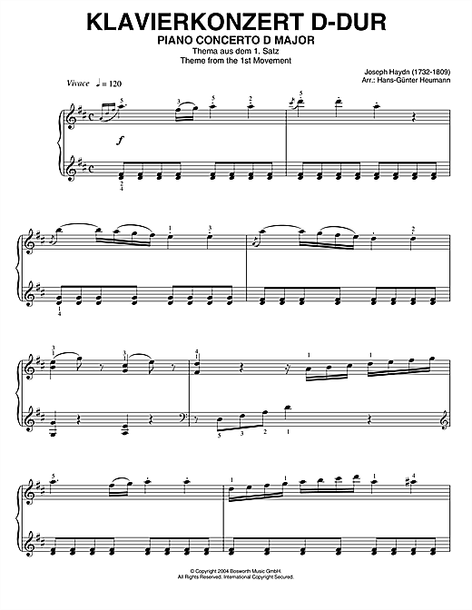 Franz Joseph Haydn Piano Concerto In D Major, Theme From 1st Movement sheet music notes printable PDF score