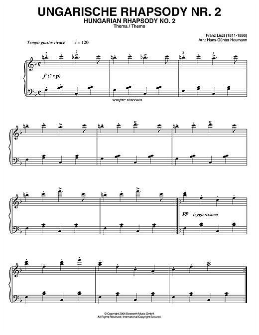 Franz Liszt Hungarian Rhapsody (Ungarische Rhapsody) No.2 sheet music notes printable PDF score